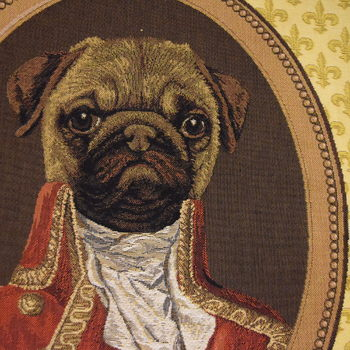 """Thierry Poncelet Mops"" Belgian Tapestry cushion"