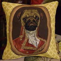 """Thierry Poncelet Mops"" Tapisserie Belge coussin"