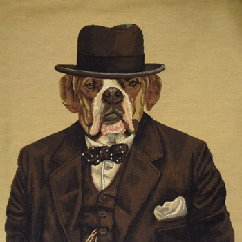 """Bulldog Churchill"" Belgian Tapestry cushion"