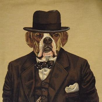 """Bulldog Churchill"" Belgian Tapestry cushion"