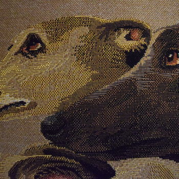 """Whippets beige"" Belgian Tapestry cushion"