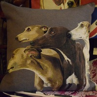 """Whippets / Greyhounds,  gray"" Belgian Tapestry cushion"