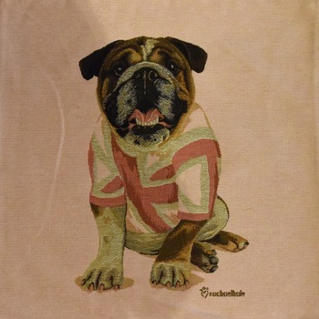"""Bulldog Pink"" Belgian Tapestry cushion"
