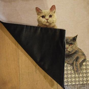 """Cat British shorthair"" Belgian tapestry cushion"