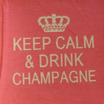 """Keep calm & drink champagne"" Belgian Tapestry cushion"