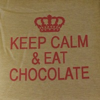 """Keep calm & eat chocolate"" Belgian Tapestry cushion"