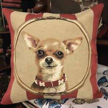 """Chihuahua stripes"" Belgian Tapestry cushion"