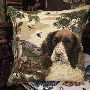 """Forest Springer spaniel"" Belgian Tapestry cushion"