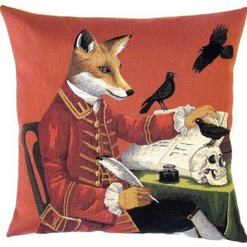 """Foxy writer"" Belgian Tapestry cushion"