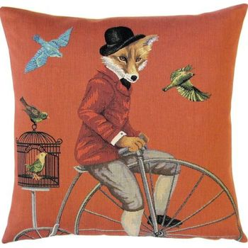 """Foxy bike rider"" Belgian Tapestry cushion"