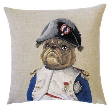 """Mops dressed"" Belgian Tapestry cushion"