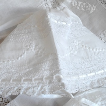 Lace baby christening dress with lace shoes and lace bonnet