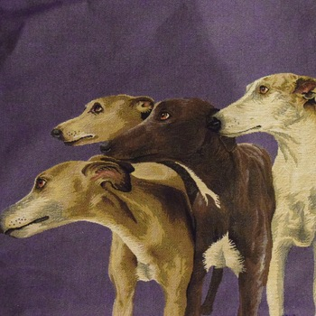 """""""Whippets Purple"""" Belgian Tapestry cushion"""