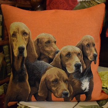 """Vizla orange"" Belgian Tapestry cushion"