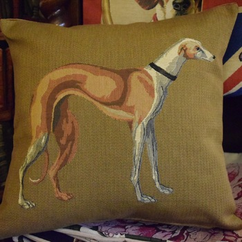 """Whippet / greyhound beige"" Belgian Tapestry cushion"