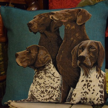 """German shorthair Pointer"" Belgium Tapestry cushion"