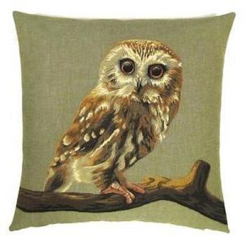"""Owl"" Belgian Tapestry cushion"