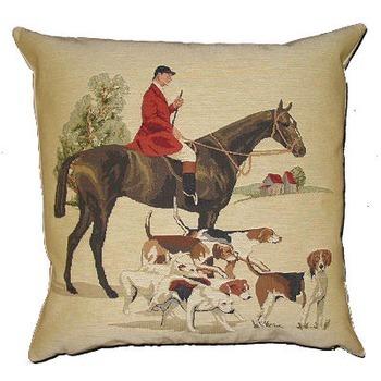 """Hunting I"" Belgian Tapestry cushion"