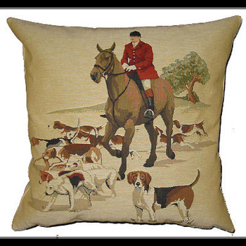 """Hunting II"" Belgian Tapestry cushion"