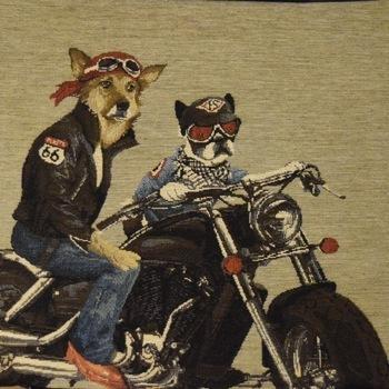 """""""Biker dogs I"""" Belgian Tapestry cushion"""