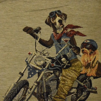 """Biker dogs II"" Belgian Tapestry cushion"