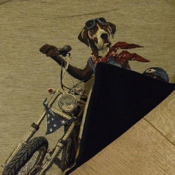 """Biker dogs II"" Tapisserie Belge coussin"