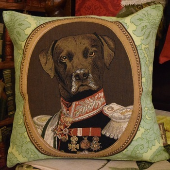 """Thierry Poncelet labrador groen"" Belgian Tapestry cushion"