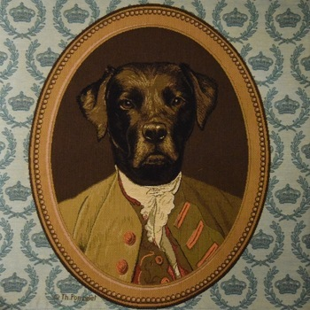 """""""Thierry Poncelet labrador blue"""" Belgian Tapestry cushion"""