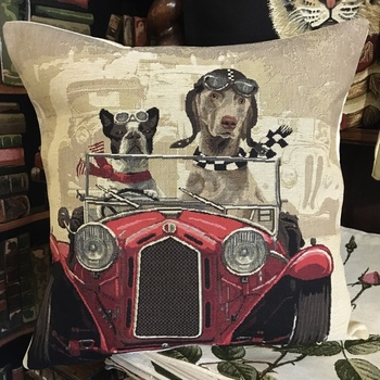 """""""Dogs in car"""" Belgium Tapestry cushion"""