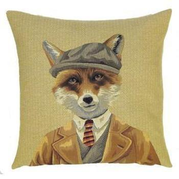 """Fox jacket beige"" Belgian Tapestry cushion"