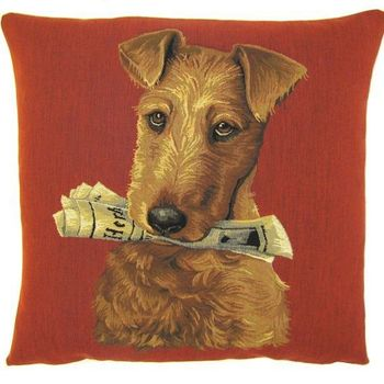 """Dog with newspaper"" Belgian Tapestry cushion"