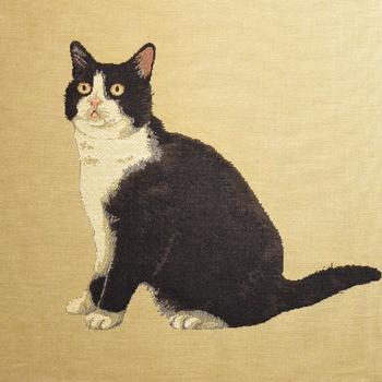 """Cat black & white"" Belgian Tapestry cushion"