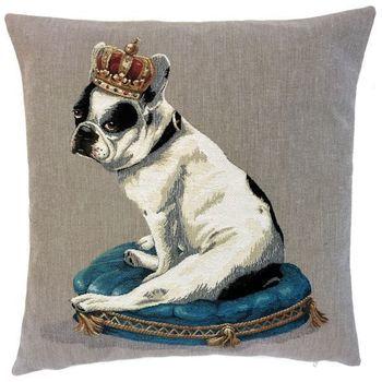 """""""Bulldog crown"""" Tapisserie Belge coussin"""