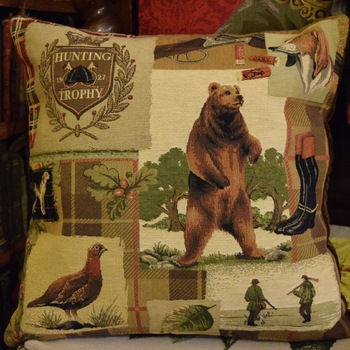 """Hunting Trophy"" Belgian Tapestry cushion"