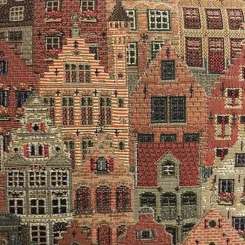 """""""Handtas met lange riem, Brugse huizen""""  Belgische tapisserie"""