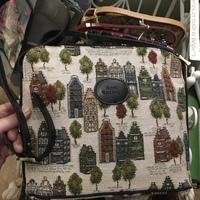 """Handbag long strap, Bruges houses I"" Belgium Tapestry handbags"