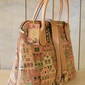 """Handbag with handle + long strap, Houses of Bruges I"" Belgium tapestry handbags"