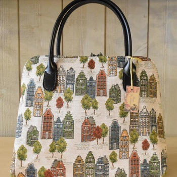 """Handbag with handle + long strap, Houses of Bruges"" Belgium tapestry"