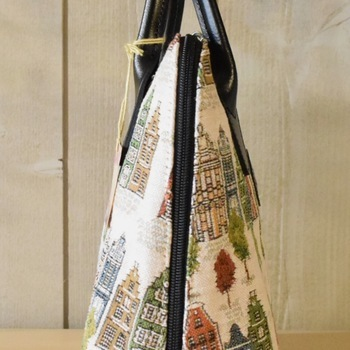 """""""Handbag with handle + long strap, Houses of Bruges"""" Belgium tapestry"""