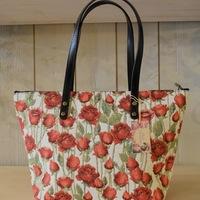 """""""sac à main avec longue poignée, roses"""" Tapisserie Belge"""