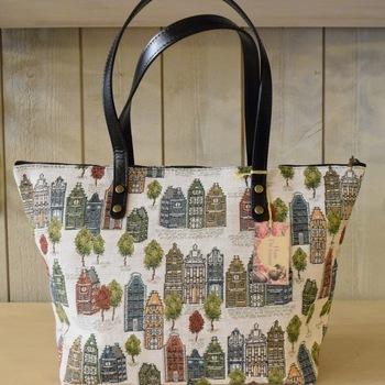 """handbag with long handle, Bruges houses"" Belgium tapestry"