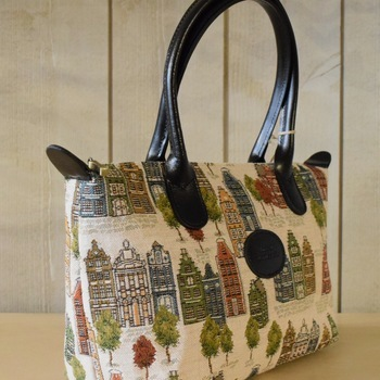 """Handbag with handle, Bruges houses"" Belgium tapestry handbags"