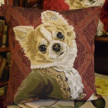 """""""Chihuahua Louis XVI"""" (dark red) Belgium Tapestry cushion"""