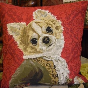 """Chihuahua Louis XVI""(red) Belgium Tapestry cushion"