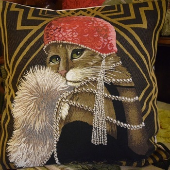 """""""Gasby Cat"""" Belgian Tapestry cushion"""