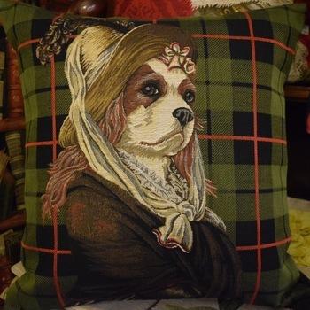 """Lady King Charles, tartan vert"" Belgium Tapestry cushion"