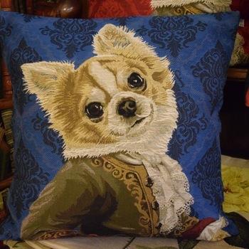 """Chihuahua Louis XVI"" (blue) Belgium Tapestry cushion"