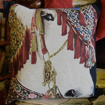 """Horse deco 2""  Belgian Tapestry cushion"