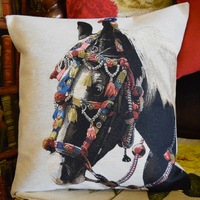 """Horse deco 1""  Belgian Tapestry cushion"
