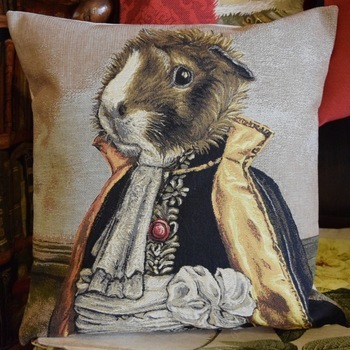 """Guinea pig (grey) ""  Belgian Tapestry cushion"